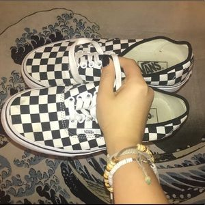 Lightly Worn Vans Checkerboard Lace Up Shoes